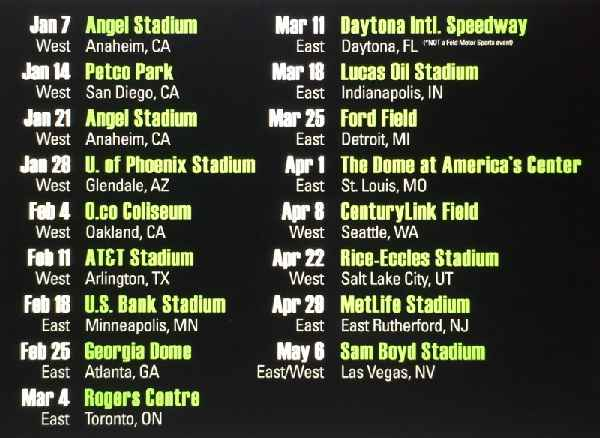 Monster Energy Supercross 2017 Fixtures