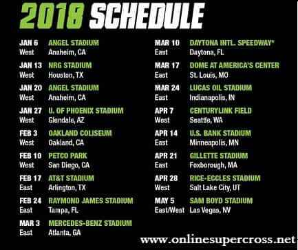 Monster Energy Supercross 2018 Schedule