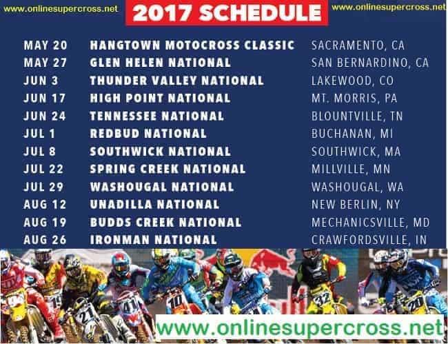 Lucas Oil Pro Motocross Championship Fixtures 2017