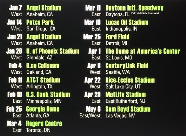 Monster Energy Supercross 2017 Fixtures